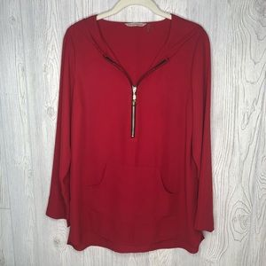Soft Surroundings Red Lightweight Hoodie Blouse